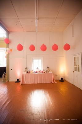 balloons hanging from ceiling, event design, wedding design, dessert bar design