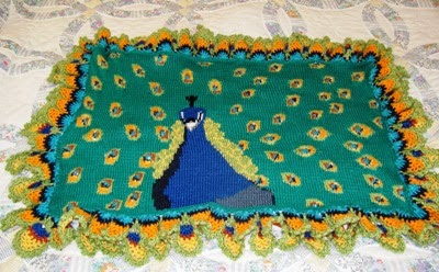 Free Crochet Pattern Peacock Feather Afghan : Crochet Parfait: Finished Peacock Afghan