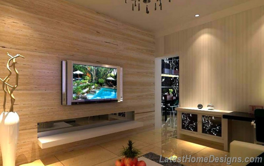 ... marble decorated TV wall and flooring tiles - Latest Home Designs