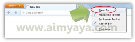 Gambar: Memilih menampilkan daftar menu bar di Mozilla firefox