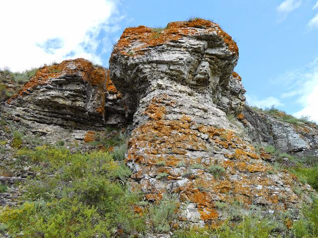 Скала рыжеватого оттенка у Зотинской пещеры