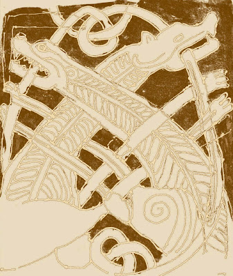 My digitally altered pen sketch of the Anglo Saxon dragon carving