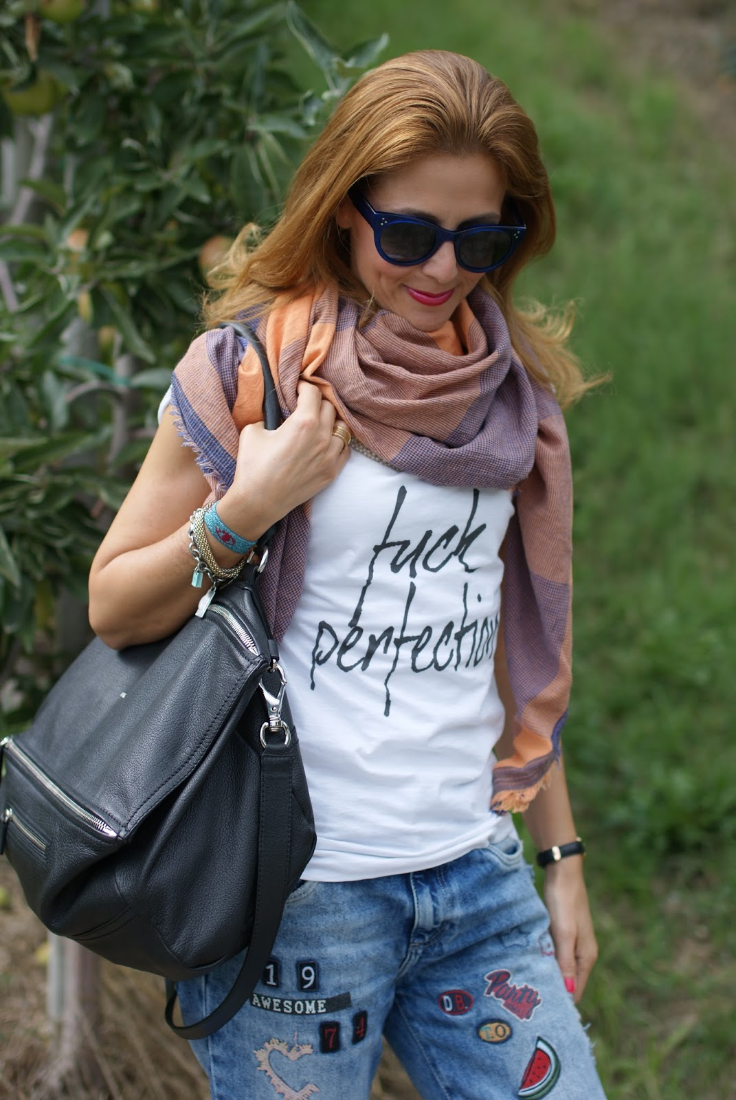 Fuck perfection, a rebel fashion outfit with my Pokemaoke t-shirt, hype sunglasses, Givenchy Pandora bag and patchy jeans on Fashion and Cookies fashion blog, fashion blogger style