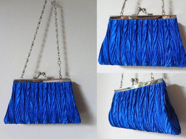 Royal cobalt dazzling blue purse with silver chain