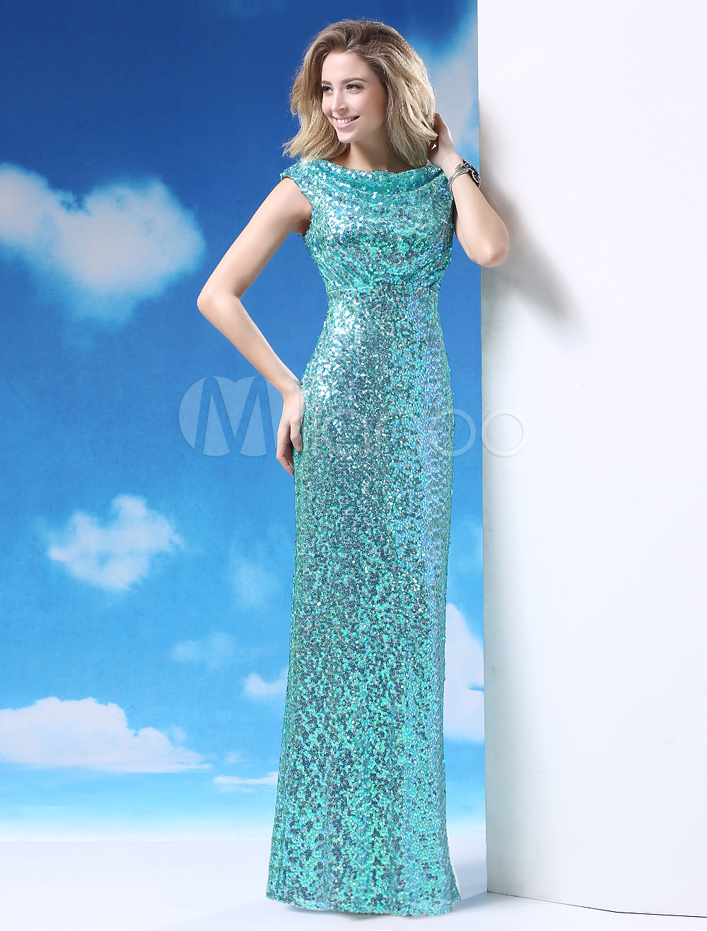 Ocean Blue Cowl Neck Sleeveless Sequin Sheath Prom Dress