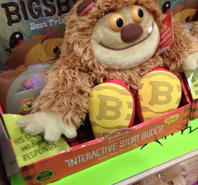 Bigsby the interactive story buddy, looks sort of like Bigfoot or one of Sendak's wild things