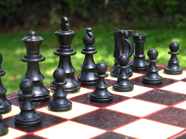 Close up view of House of Martin chess set.