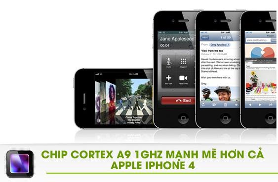hkphone 4s retina pro sử dụng chip cortex a9 1GHZ mạnh mẽ hơn cả iphone 4
