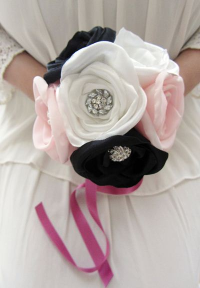 fabric bouquet with rhinestones