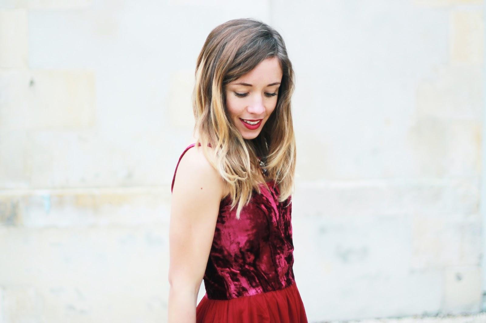 Robe rouge velours bimatière