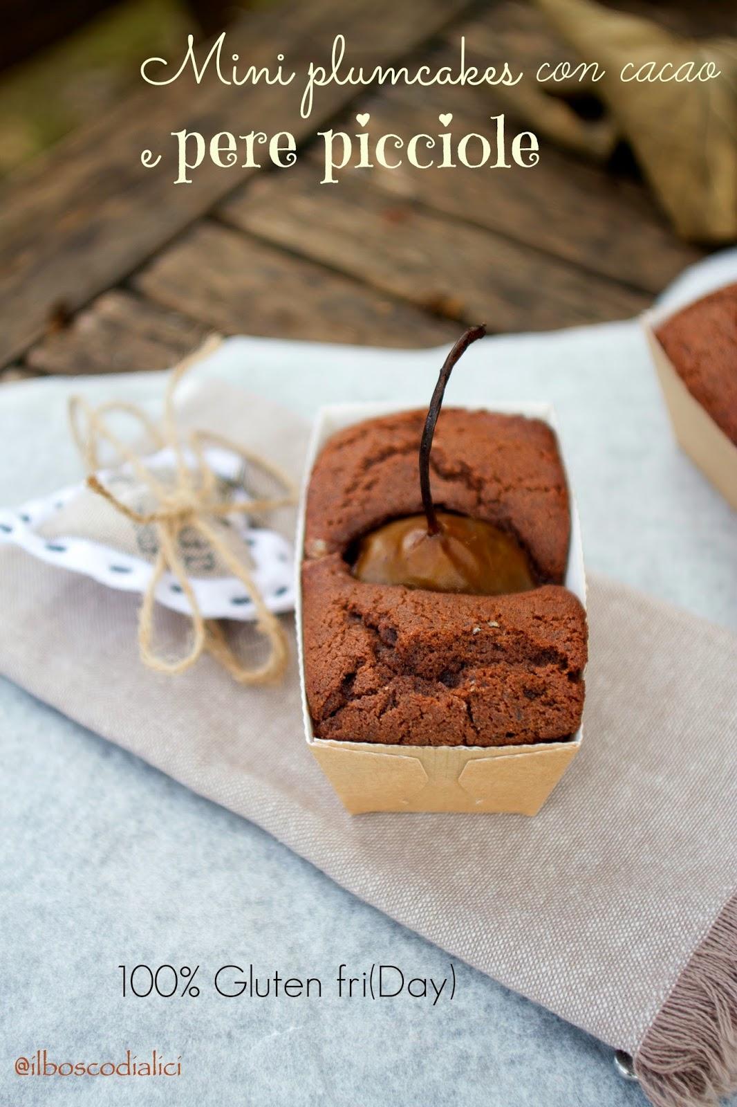mini plumcakes con cacao e pere picciole sciroppate