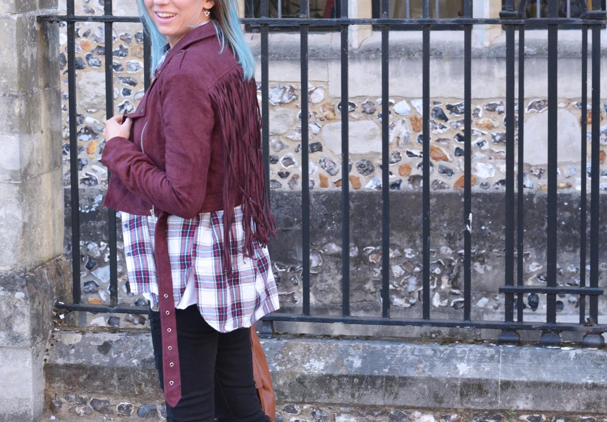 Burgundy Boohoo Suede Jacket