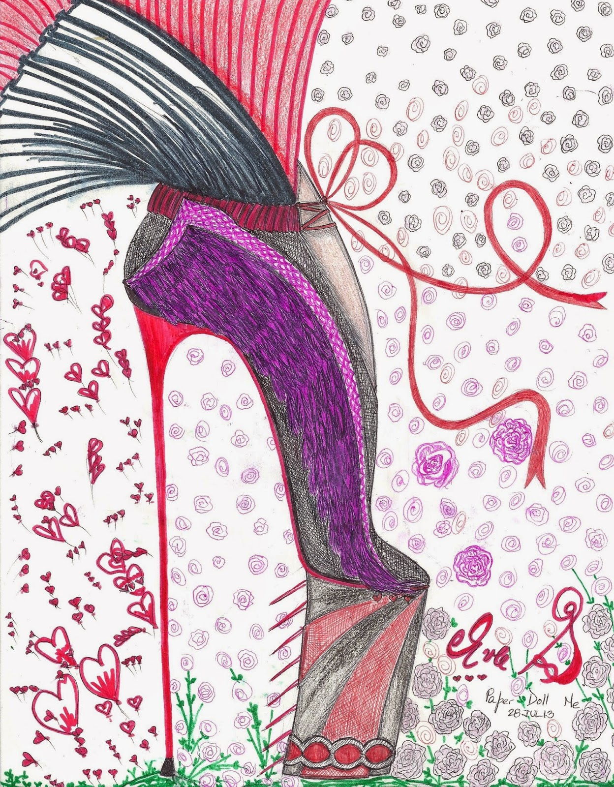 high heel bootie shoe fashion illustration