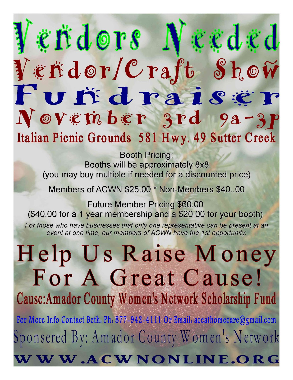 Acwn vendors needed for november for Vendors wanted for craft shows 2017