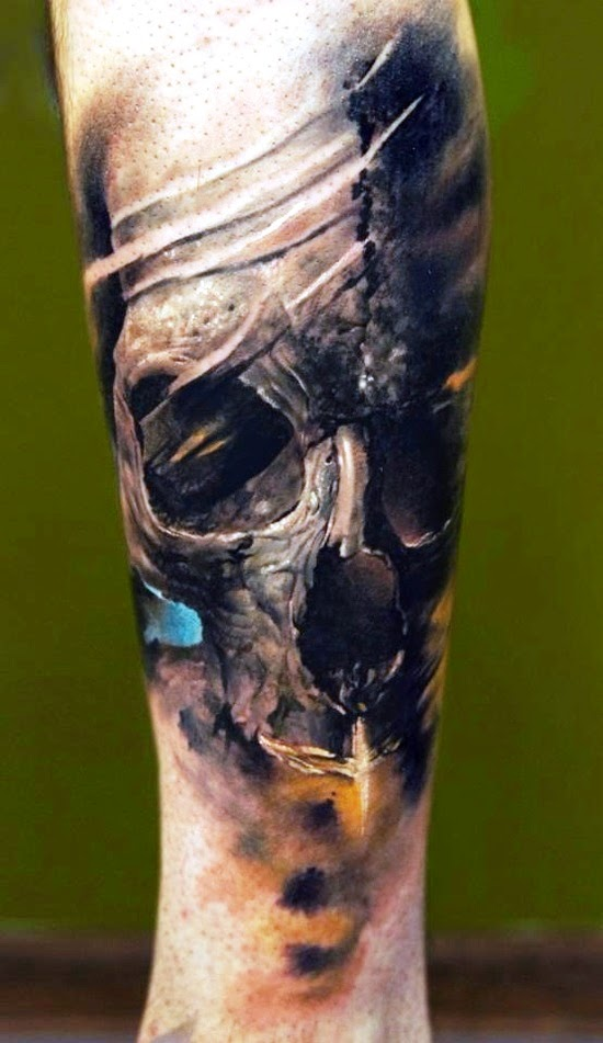 Unique 3D skull tattoo
