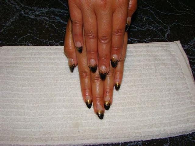 black acrylics, shaped to almond and gold glitz haze manicure-Classic-French-white-nails-acrylic-backfill-LED-polish-Pedicure-Gel-Nails-Polish-LED-Polish-LED-Nails-Manicure-Acrylic-Nails-Nail-Art