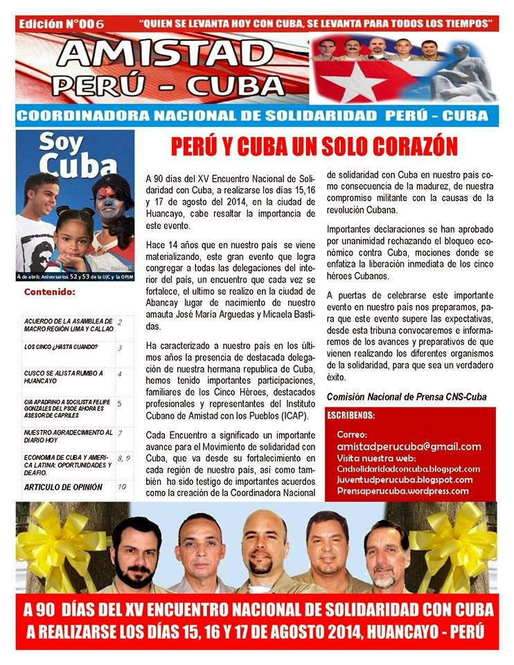 "BOLETÍN N°006 ""AMISTAD PERÚ CUBA"""