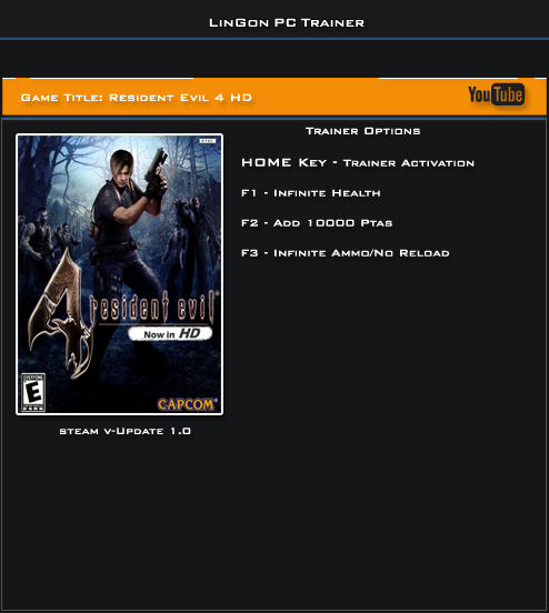 Resident Evil 4 HD v1.0 Steam Trainer +3 [LinGon]