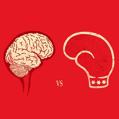 Boksekamp, hjerne mod næve