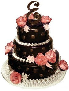 Chocolate Wedding Cakes Decorated with Polka Dots and Sugar Roses