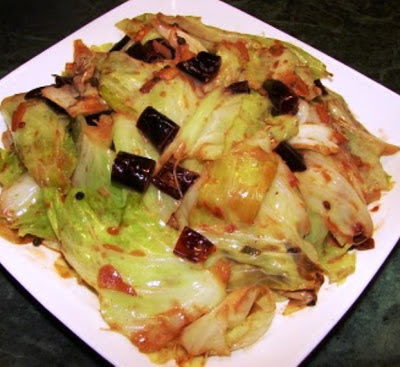 Shredded Cabbage with Fermented Tofu (red bean curd)
