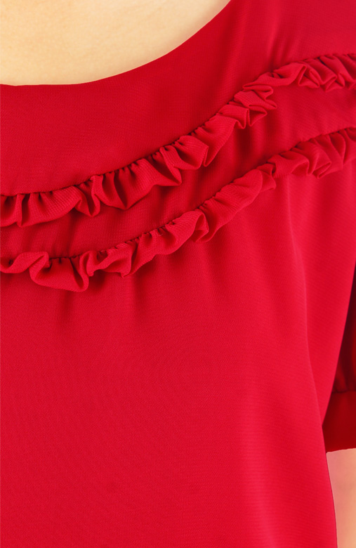 Red Little Ruffle Tulip Blouse with Sleeves