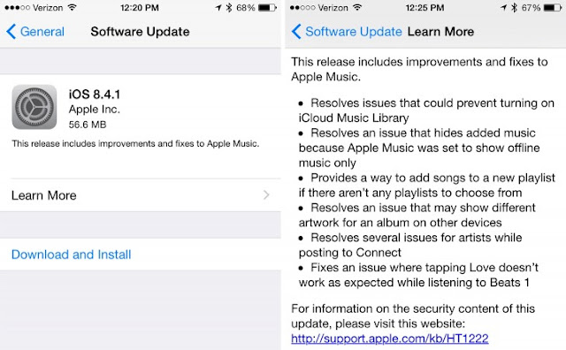 Apple Launched iOS 8.4.1 Today Free Update