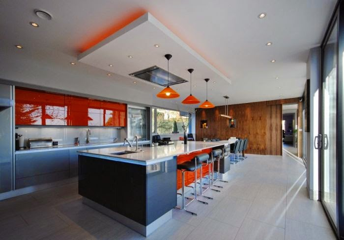 Luxury Italian kitchen designs, ideas 2015 with modern false ceiling and pendant lamps