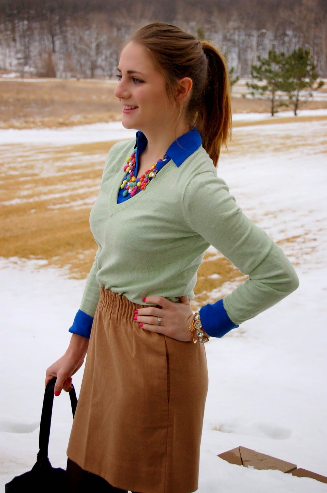mint and cobalt outfit ideas