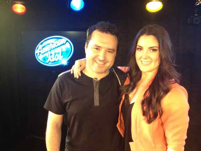American Idol vocalist Kree Harrison and guitarist Tony Pulizzi after their radio performance at 102.7 KIIS FM in Los Angeles.