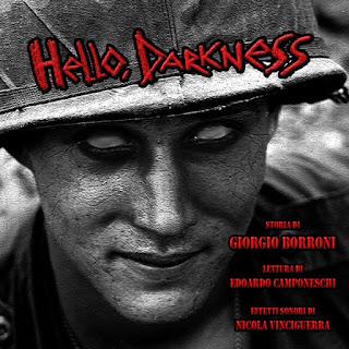 """Copertina dell'audiolibro """"Hello, Darkness"""", racconto di Giorgio Borroni."""