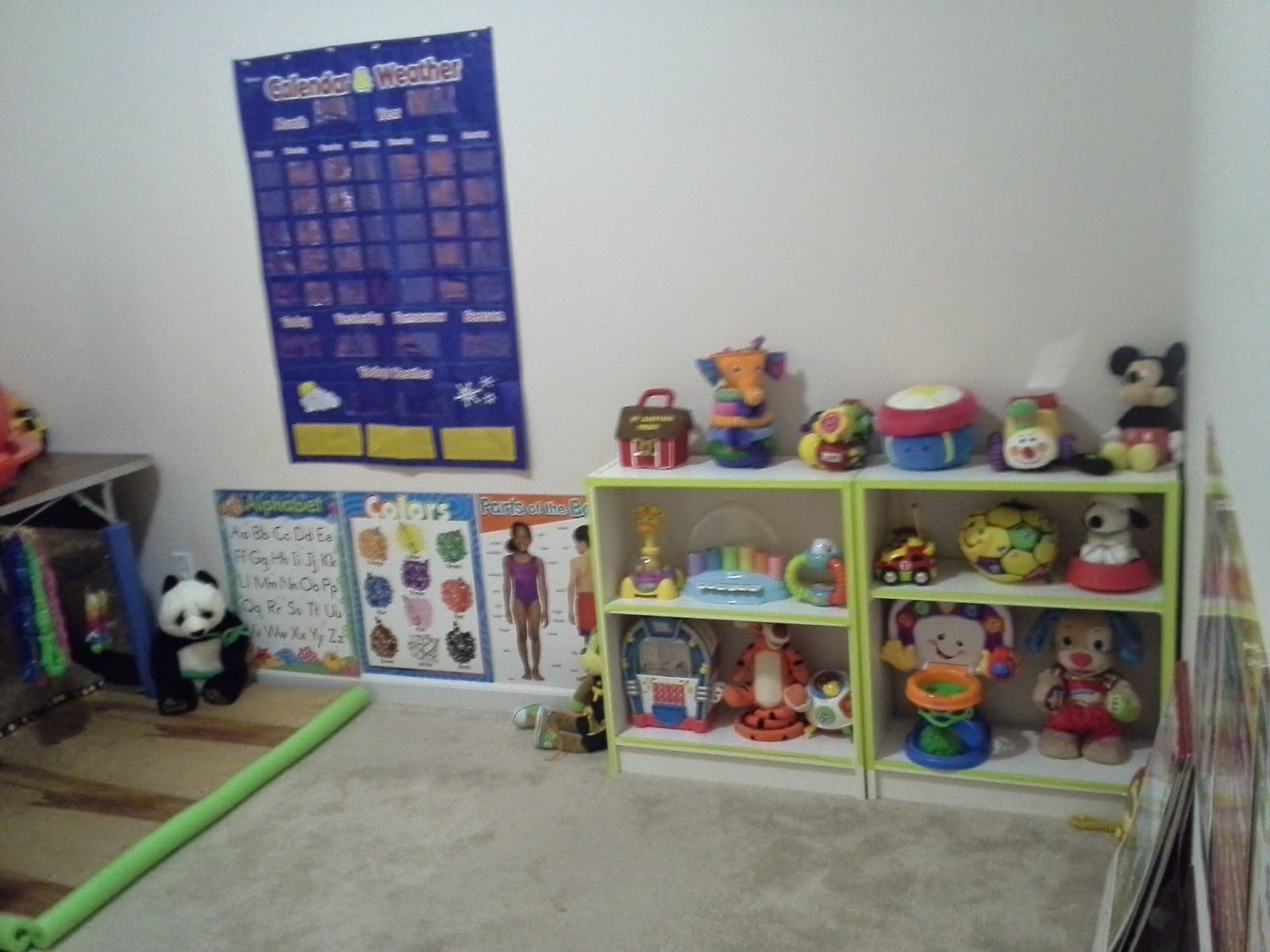 home classroom toys with assigned storage for deafblind child