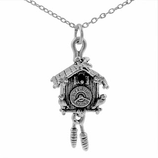 silver cuckoo clock necklace