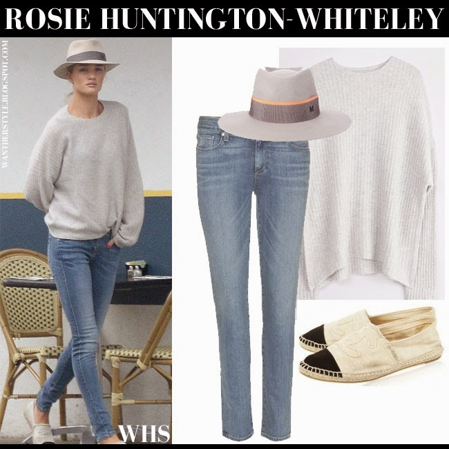 Rosie Huntington-Whiteley in grey knit Zadig Voltaire sweater, blue skinny Paige Denim Skyline jeans, Chanel espadrilles and grey Maison Michel hat what she wore may 16 chic casual style