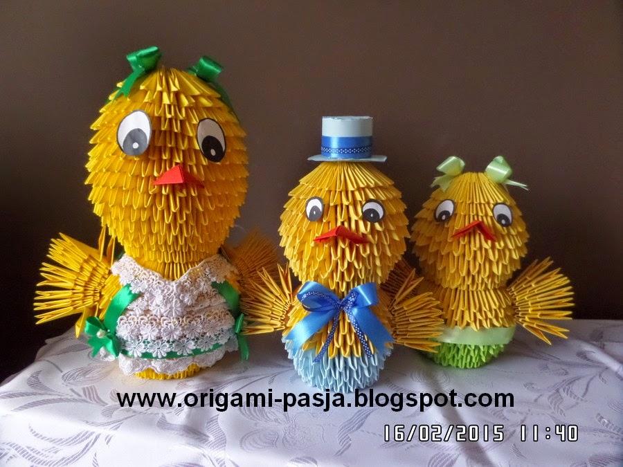 Kurczaki - origami modułowe