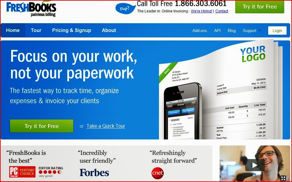 Photo of FreshBooks' website