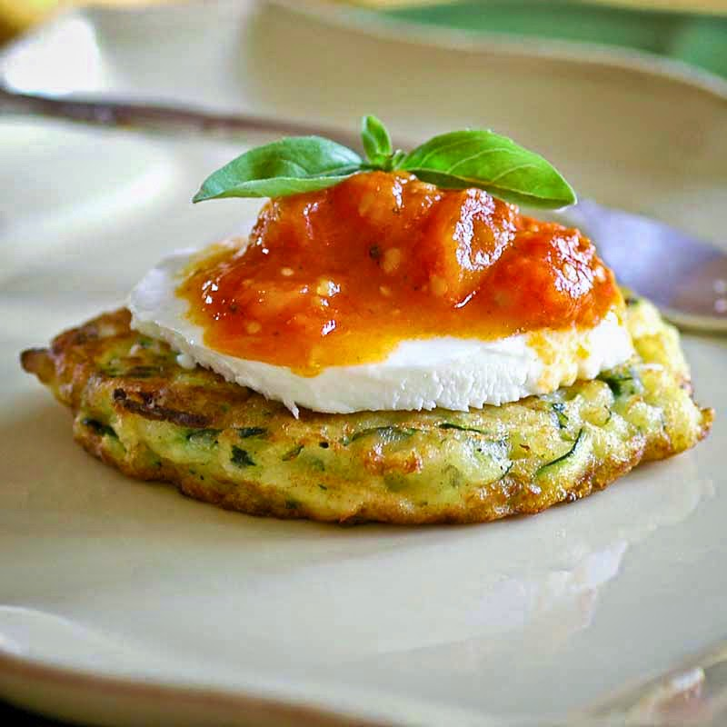 Zucchini Fritters with Stewed Cherry Tomatoes
