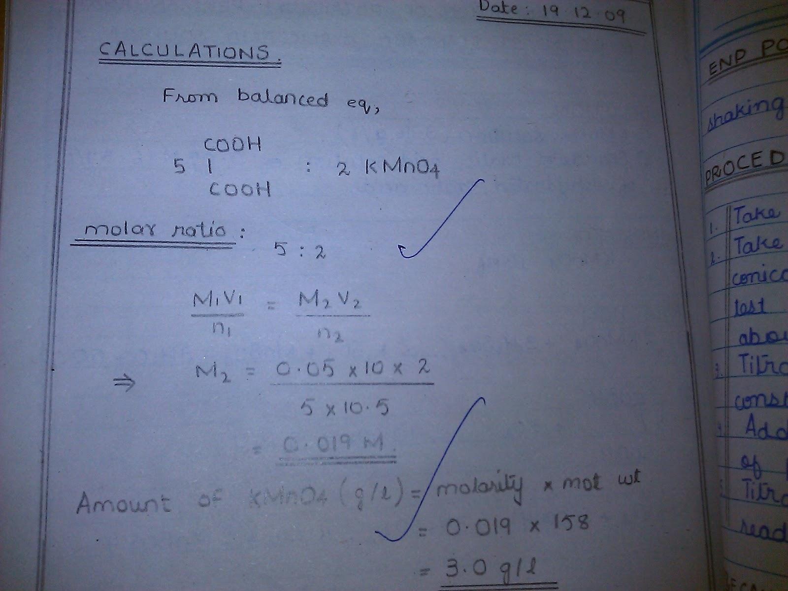 standardization of kmno4 by oxalic acid