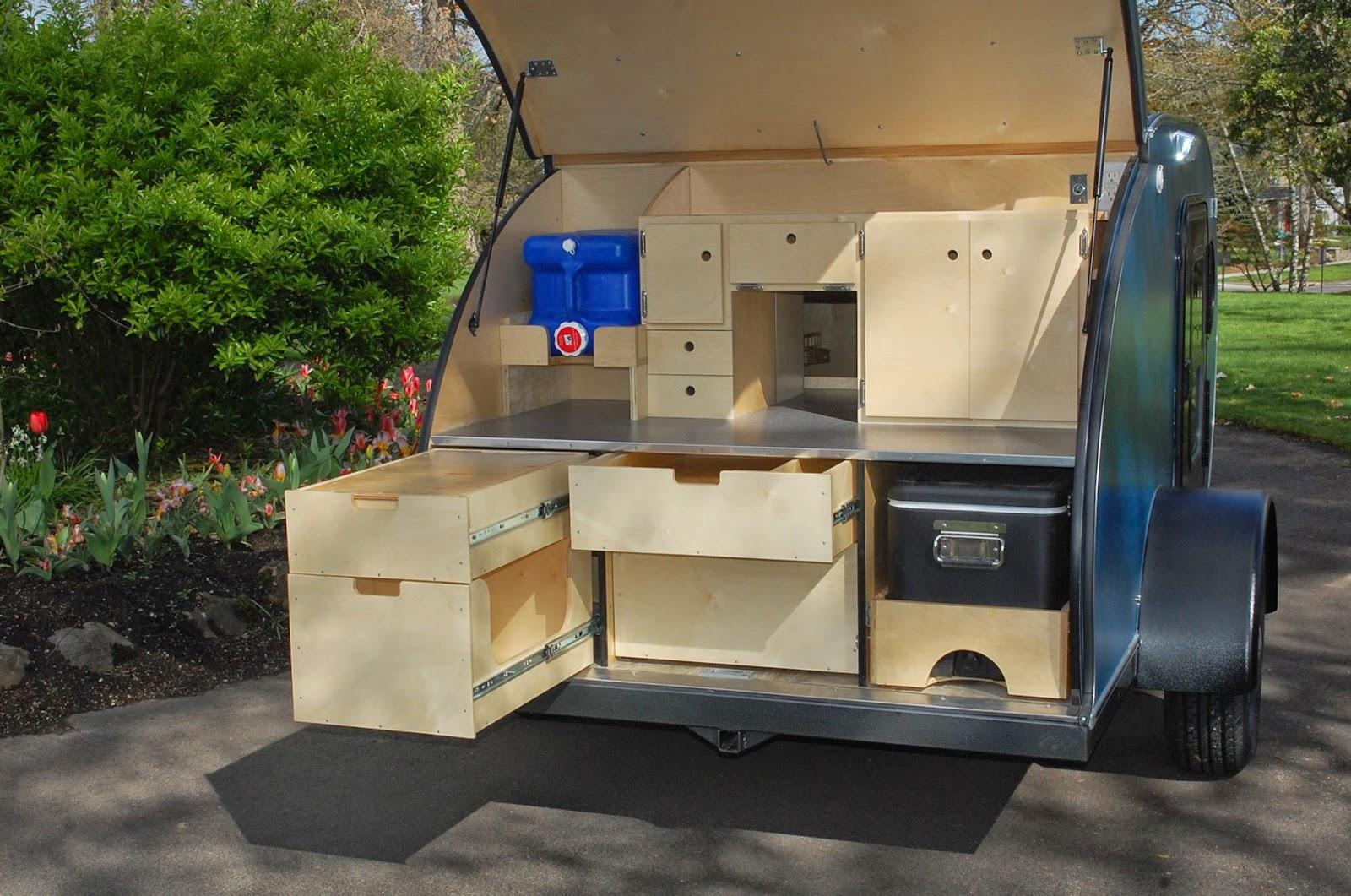 Tiny yellow teardrop march 2015 for Teardrop camper kitchen ideas