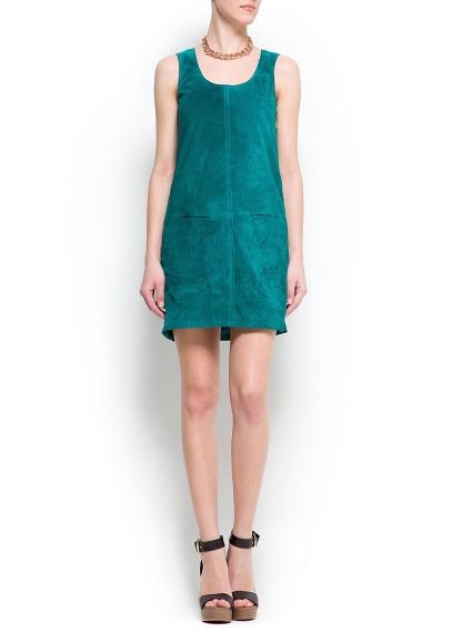 yeşil kısa elbise düz kesim cepli