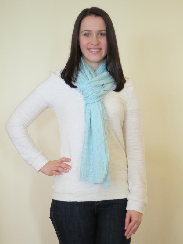 Dark wash denim jeans, cream knit jumper, neutral booties and mint scarf