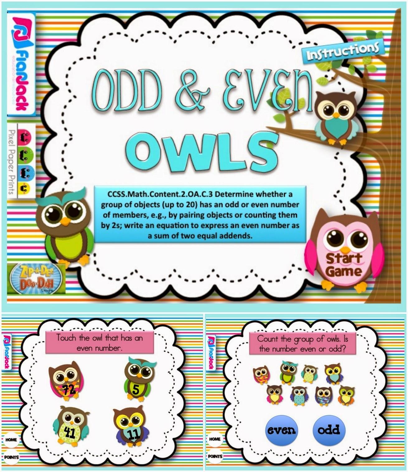http://www.teacherspayteachers.com/Product/Odd-and-Even-Owls-Smart-Board-Game-CCSS2OAC3-1232817