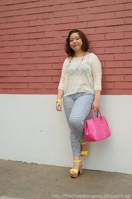 print matching, prints on prints, uniqlo pants, gingham pants, plus size fashion, esprit top, sunday style showdown, ootd, wearing prints, outfit ideas