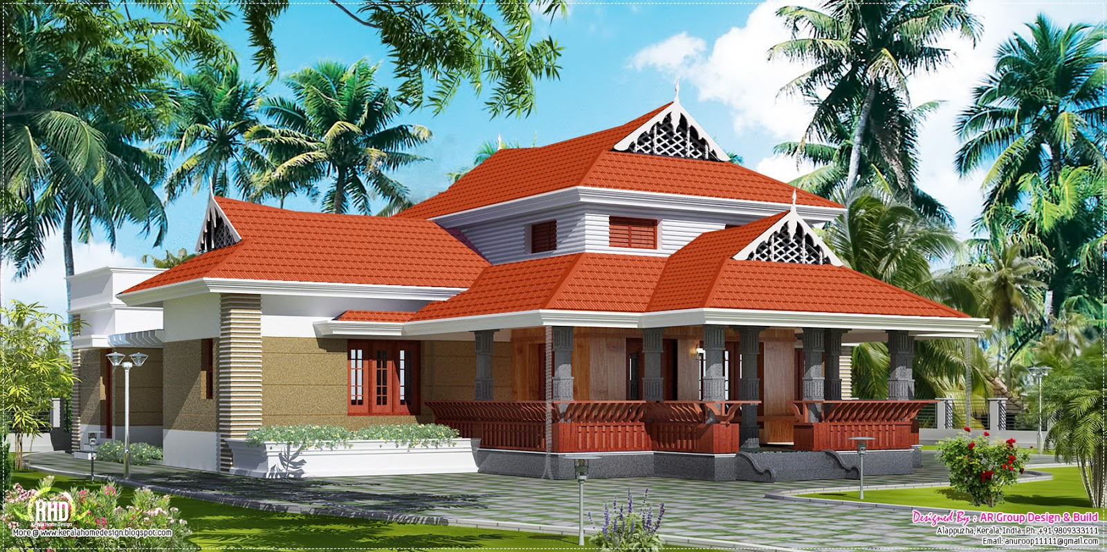 Traditional house in 1800 square feet kerala home design for Classic house design