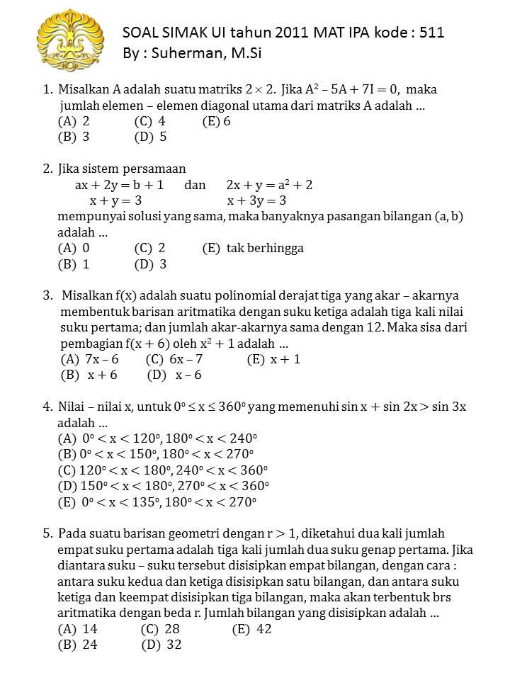 Simak Ui 2011 Mat Ipa Kode 511 1000 Soal Matematika Uan Snmptn Simak Ui