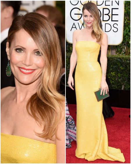 Leslie Mann's look, in a yellow Kaufman Franco dress at the Golden Globes 2015