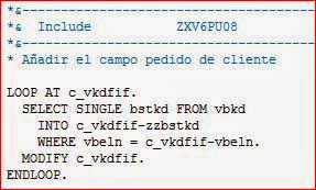 Código ABAP incluido sobre la exit ZXV6PU08