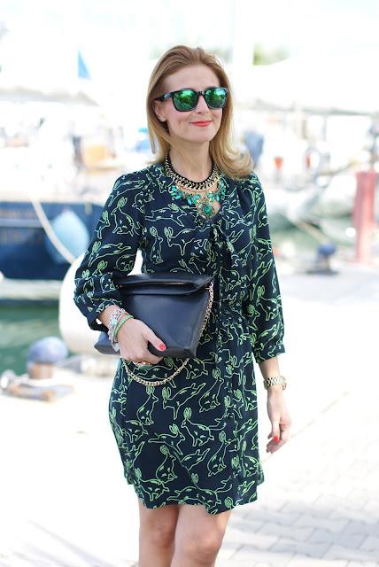 Surfdome, rabbit printed dress, Oakley mirror sunglasses, Fashion and Cookies, fashion blogger