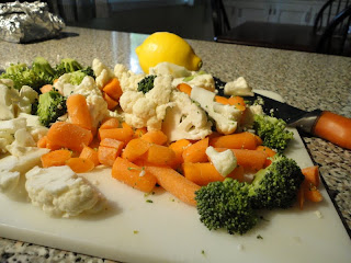 Broccoli, baby carrots, and cauliflower