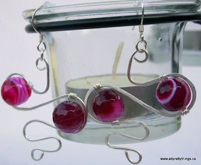 Fuchsia and Sterling Silver earrings (wire wrapping) :: All Pretty Things